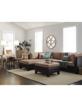 Abbyson Charlotte Beige Sectional Sofa And Ottoman by Abbyson