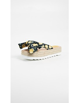 Printed Bow Platform Slides by Jeffrey Campbell
