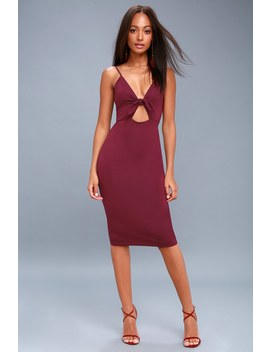 Love Me Knot Burgundy Bodycon Midi Dress by Lulus