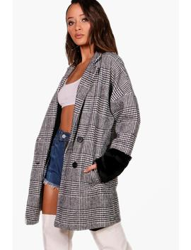 Emily Check Faux Fur Sleeve Jacket by Boohoo