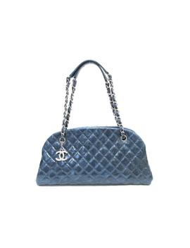 Chanel Chain Shoulderbag Handbag Dark Blue Calfskin Leather by Chanel