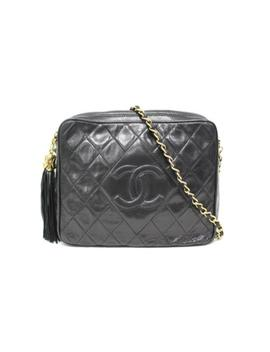 Chanel Coco Mark Quilted Fringe Chain Shoulder Bag Lamb Skin Leather by Chanel