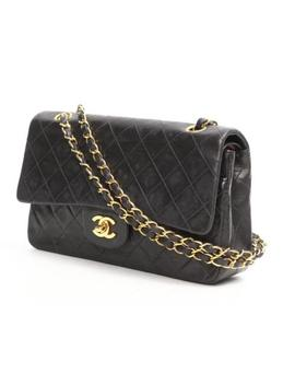 Chanel Double Flap Chain Shoulder Bag Quilted Leather Black by Chanel