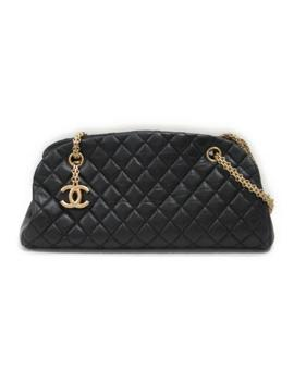 Chanel Matelasse Chain Totebag Black Lambskin Leather Quilted Cc Charm by Chanel