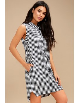 Checks And Balances Black And White Gingham Button Up Dress by Rd Style
