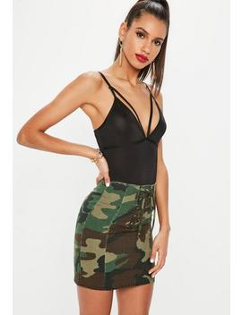 Khaki Lace Up Front Camo Mini Skirt by Missguided