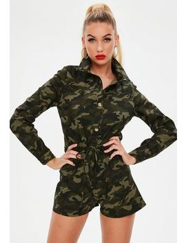 Khaki Camo Utility Playsuit by Missguided