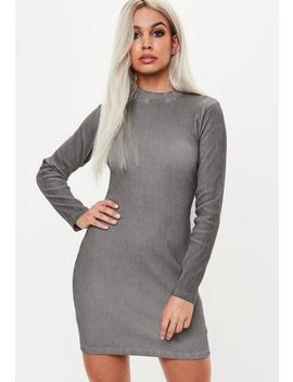 Gray High Neck Long Sleeve Dress by Missguided