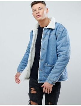 Boohoo Man Denim Jacket With Fleece Lining In Mid Wash by Boohoo Man