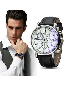 Yang Yi Luxury Fashion Faux Leather Mens Blue Ray Glass Quartz Analog Watches Men by Yang Yi
