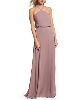 Halter Neck Chiffon Blouson Gown by Nouvelle Amsale
