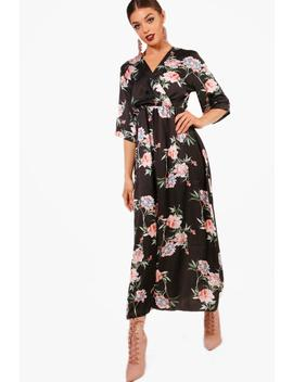 Jenna Floral Satin Wrap Midaxi Dress by Boohoo