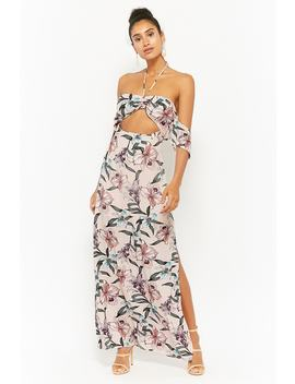 Floral Off The Shoulder Halter Maxi Dress by Forever 21