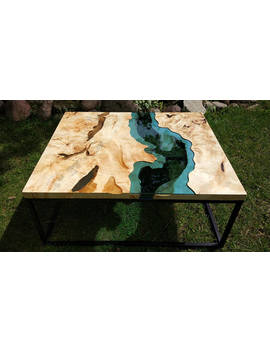 Sold Live Edge River Coffee Table With Transparent Epoxy Inlay Sold by Kameleon Craft