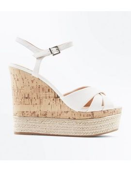 White Cross Strap Metal Trim Cork Wedges by New Look