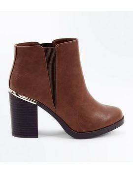 Tan Metal Trim Block Heel Ankle Boots by New Look