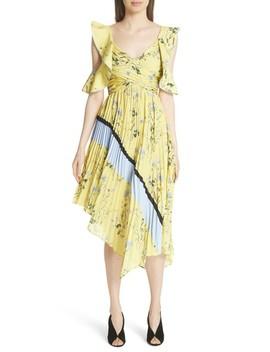 Floral Pleated Asymmetrical Dress by Self Portrait