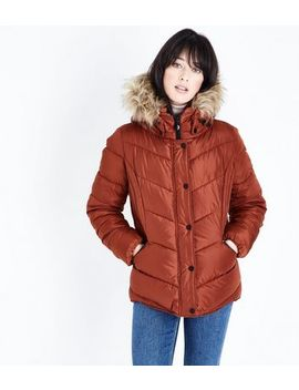 Tan Faux Fur Trim Hooded Puffer Jacket by New Look