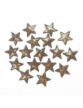 10pcs Gold Star Iron On Patches For Clothes Iron On Badge For Clothing Applique For Germent Diy Sequined Sticker Sewing Supplier by Ordinary Store