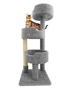 Carpet Cat Tower For Large Cats In Gray 52 Inch Tall Kitty Tree With Beds And Sisal Rope by Cozy Cat Furniture