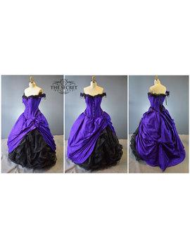 Gothic Wedding Gown Custom Purple Black Halloween Wedding Alternative Wedding Dress Purple And Black The Secret Boutique Bustle Gown Goth by Etsy