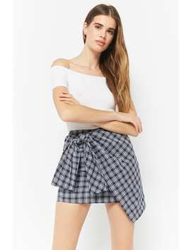 Plaid Tie Front Mini Skirt by Forever 21