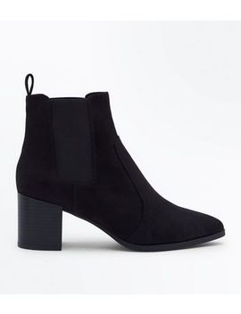 Black Suedette Pointed Heeled Chelsea Boots by New Look