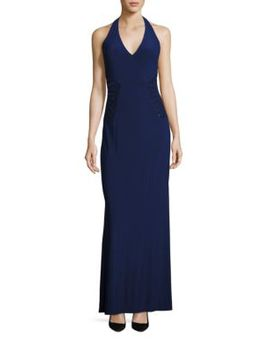 Embellished Halter Gown by Laundry By Shelli Segal