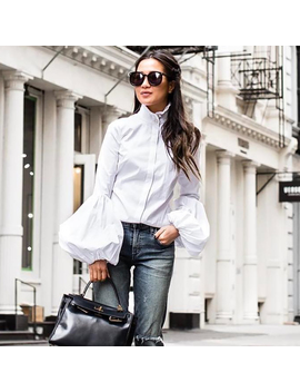 Ootn Long Wide Lantern Sleeve White Blue Blouse Women Button Down Shirts Female 2018 Spring Winter Fashion Tops Turtleneck by Ootn Apparel Store