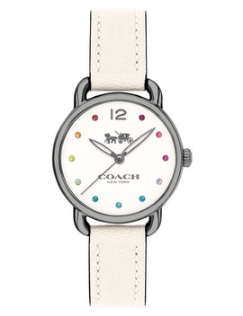 Delancey Crystal Accent Leather Strap Watch, 28mm by Coach