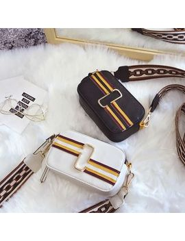 Faux Leather Paneled Cross Bag by Ginadore