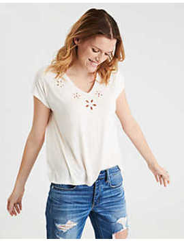 Ae Soft & Sexy Cut Out Embroidery V Neck T Shirt by American Eagle Outfitters