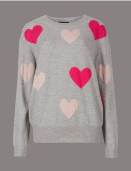 Pure Cashmere Oversized Heart Print Jumper by Marks & Spencer