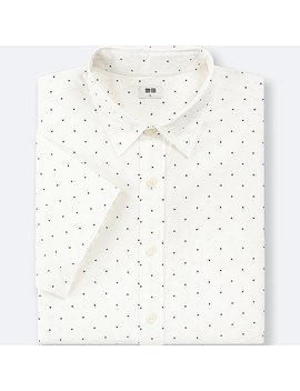 Men Broadcloth 100 Percents Cotton Printed Short Sleeve Shirt by Uniqlo