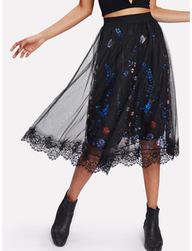 Embroidery Mesh Overlay Skirt by Sheinside