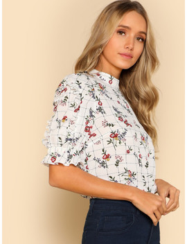 Frill Detail Mixed Print Top by Shein