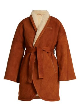 Simona Contrast Lapel Shearling Wrap Coat by Osman