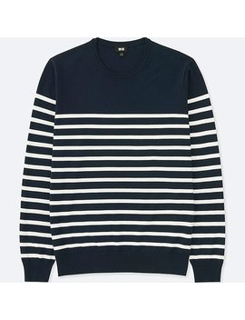 Men Striped Crew Neck Long Sleeve Sweater (Washable) by Uniqlo