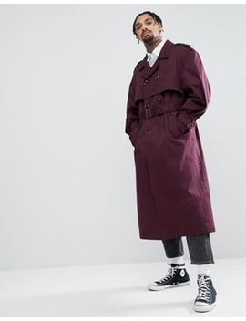 Asos Oversized Trench Coat In Burgundy by Asos