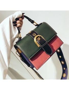 Colour Block Buckled Shoulder Bag by Etta