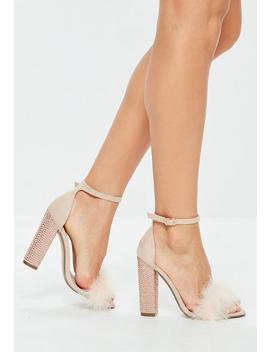 Nude Feather Strap Glitter Block Heels by Missguided