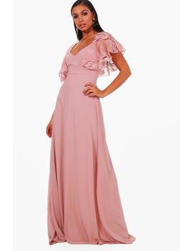 Boutique Mai Broderie Cape Detail Maxi Dress by Boohoo