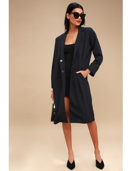 Perfect Moment Navy Blue Coat by Lulus
