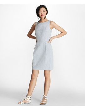 Striped Stretch Cotton Seersucker Sheath Dress by Brooks Brothers
