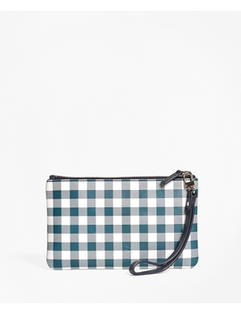 Gingham Leather Wristlet by Brooks Brothers