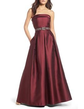 Embellished Belt Strapless Gown by Eliza J