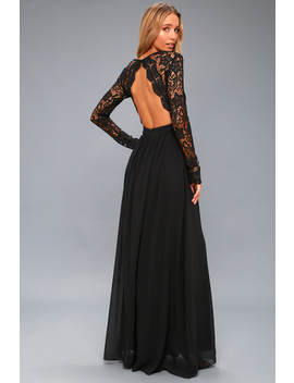 Awaken My Love Black Long Sleeve Lace Maxi Dress by Lulus