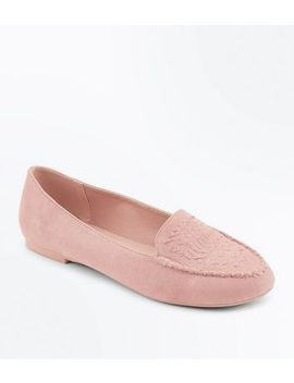 Nude Suedette Cross Stitch Embroidered Loafers by New Look