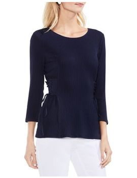 Side Lace Up Ribbed Top by Vince Camuto