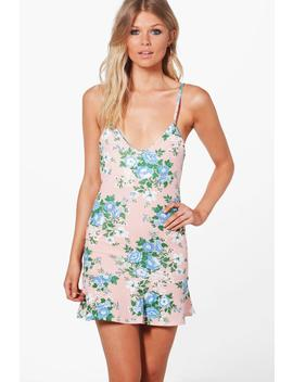 Petite Lola Floral Strappy Peplum Hem Dress by Boohoo